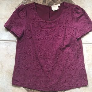NEW ANTHROPOLOGIE SHIRT TOP embroidered FALL XS